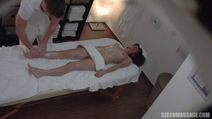 Czech brunette with a skinny body fucks with a massage therapist on the couch 270
