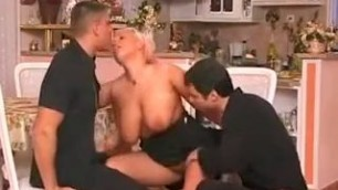 Hot blonde and two men Incredible homemade Threesomes