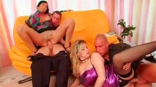 Two hot couples fucking on the couch and on the floor