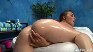 Sandy Sweet beautiful girl is hard fucked on a massage table