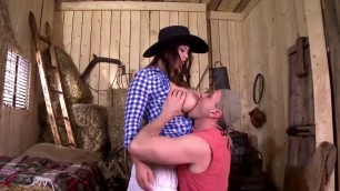 Woman cowboy with big breast takes a dick between tits