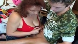 Horny Big Tits Mature Redhead fucks with a young guy