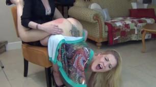 Naughty Blonde Girl Wheelbarrow Spanking and Orgasm