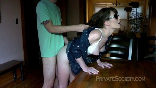 Audrie Parker brunette bends over and gets fucked on the table Slow Fucking htm