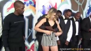 Beautiful Blonde Lia Lor sucks 10 Black cocks