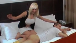 Busty blonde fucks guy with strapon Rough pegging sex
