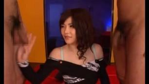 Anri Okita Beautiful Japanese Girl fucks with two men