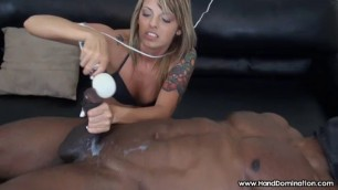 Fit Blonde Gives a BBC A Hot Handjob The girl dominates the man
