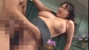 Busty Japanese woman takes his cock in his mouth Crazy homemade MILF