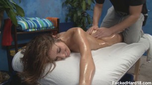 Sheena Shaw beauty with a small body hard fuck on a massage couch