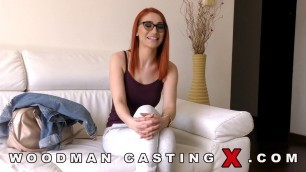 Luna Melba red haired girl fucks with two men on casting