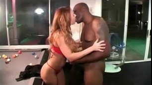 Interracial adult video Carolyn girl in red lingerie fucks a black man