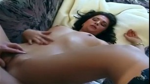Cute brunette Lizz in a fur coat on a naked body fucks with a man