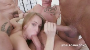 Kira Thorn girl with a young body fucks with a lot of men gangbang