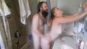Steamy Sibling Sex Hot girl bending and fucking in the bathroom