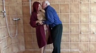 Fabulous BBW Big Tits Redhead fucks with a mature man sex video