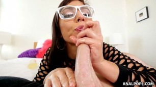 great brunette aidra fox got her nice glasses cumshot on