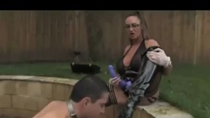 busty mistress humiliating male slave