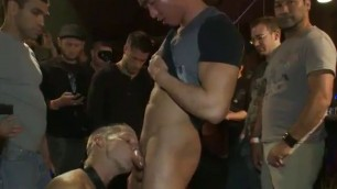 Chained Sexual gay fucked in public bar full of gays