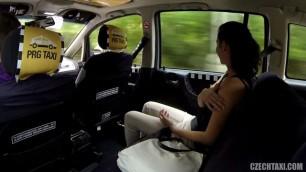 Czech Sweet brunette Girl pays for a taxi sex